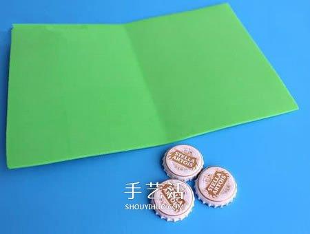 啤酒瓶盖废物使用 做一张超简略的圣诞节卡片 -  www.shouyihuo.com