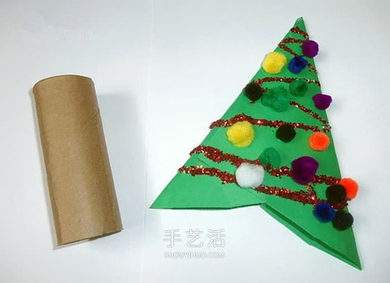 简单圣诞树挂饰的做法 用卫生纸筒做圣诞树 -  www.shouyihuo.com