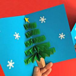 圣诞树立体贺卡做法 手工立体圣诞树贺卡制作