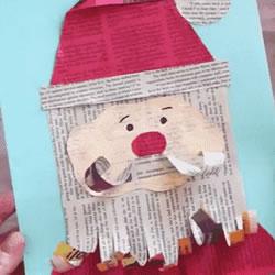 废报纸利用小制作 做可爱的圣诞老人贺卡教程