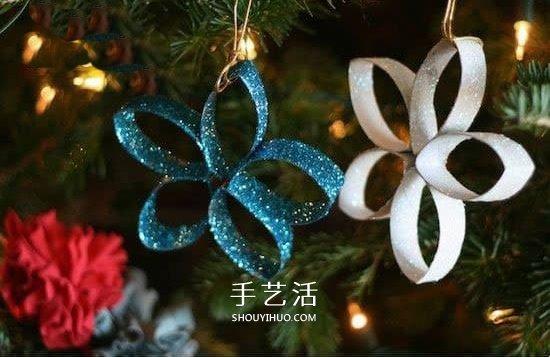 卫生纸筒废物利用 手工制作圣诞树挂饰方法 -  www.shouyihuo.com