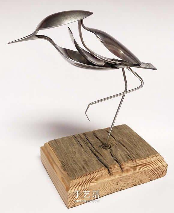 竟然是用勺子做的 精致的小鸟雕塑手工艺品 -  www.shouyihuo.com