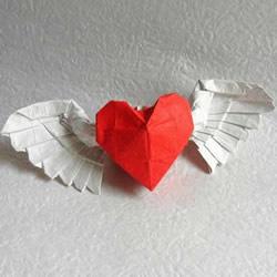 情人间折纸小礼物 超美天使心戒指的折法图解