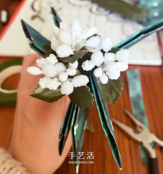 卷纸筒废物利用 和纸花一起做漂亮圣诞花环 -  www.shouyihuo.com