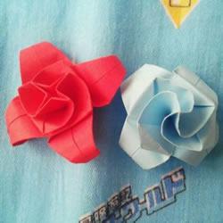 折纸花的教程之漂亮双缤玫瑰的折法图解