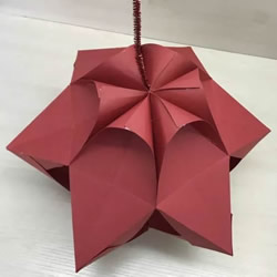 元旦新年小手工 折纸制作漂亮的纸灯笼图解