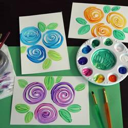 简单又漂亮!儿童水彩画玫瑰花贺卡的制作教程