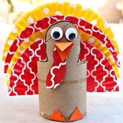卫生纸筒和蛋糕纸废物利用 手工制作感恩节火鸡