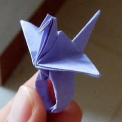 怎么手工折纸千纸鹤戒指的方法图解过程