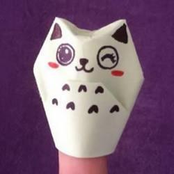 简单的小动物手偶折纸 做出可爱的猫咪手偶
