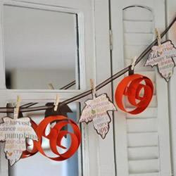 卡纸手工制作南瓜和树叶 做成漂亮万圣节挂饰