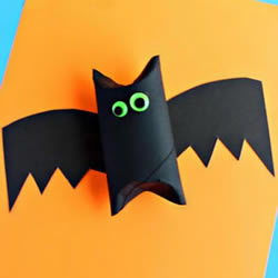 卫生纸筒芯废物利用 手工制作万圣节可爱蝙蝠