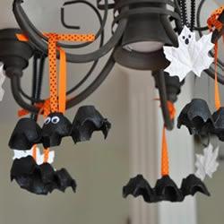 鸡蛋托蝙蝠手工制作 简单做成可爱万圣节挂饰