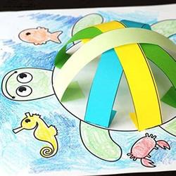 创意乌龟立体画的画法 卡纸手工制作立体小乌龟