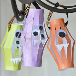 幼儿园纸灯笼手工制作 可爱的小怪物风格