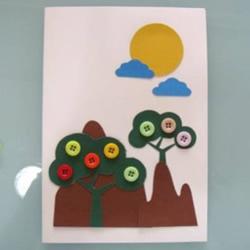 手工纽扣贺卡制作图片 可爱的儿童贺卡制作