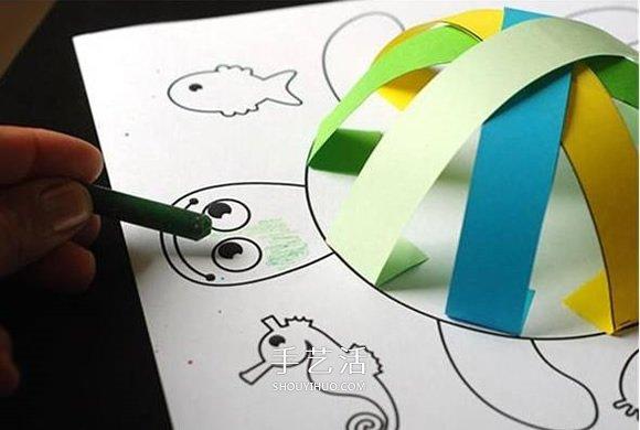 创意乌龟立体画的画法 卡纸手工制作立体小乌龟 -  www.shouyihuo.com