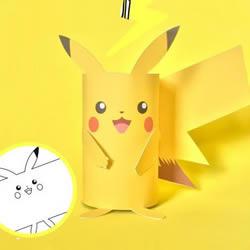 自制可爱的小动物 卡纸皮卡丘手工制作教程