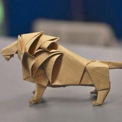 森林之王的折纸教程 逼真立体狮子的折法图解