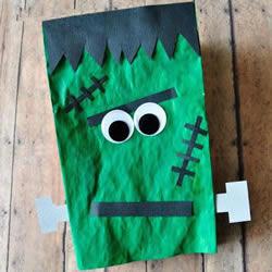 纸袋子手工小制作 DIY可爱的万圣节科学怪人