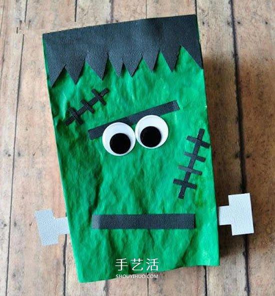纸袋子手工小制作 DIY可爱的万圣节科学怪人 -  www.shouyihuo.com
