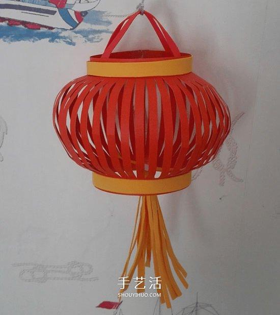 春节手工灯笼的做法 简单卡纸红灯笼DIY图解 -  www.shouyihuo.com