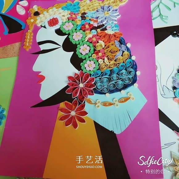 幼儿园老师作品 漂亮衍纸画和拼豆画欣赏图片