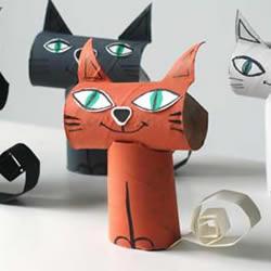 幼儿园卫生纸筒废物利用 手工制作立体小猫