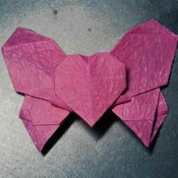浪漫蝴蝶心的折法图解 折纸蝴蝶爱心的步骤图
