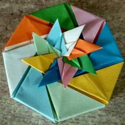 日式八角礼盒的折法图解 带盖八角礼品盒折纸