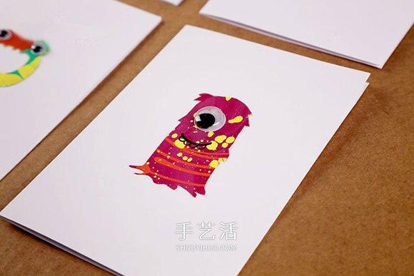 有趣的贺卡DIY 万圣节小怪物贺卡手工制作