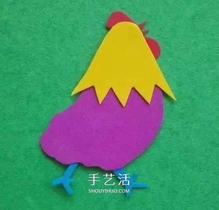 幼儿海绵纸手工制作 用海绵纸做大公鸡的方法
