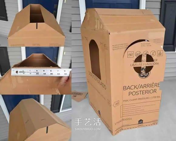 孩子的移动小屋 废纸箱做小房子的方法图解