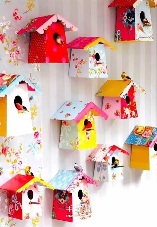 牛奶盒废物利用小制作 做成漂亮的鸟笼装饰 -  www.shouyihuo.com