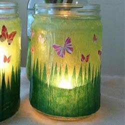 小小蝴蝶迎着晨光飞舞 自制玻璃瓶灯笼的方法