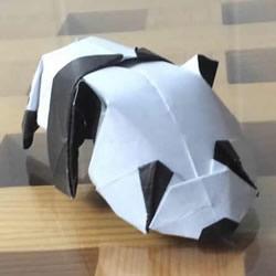 爬行大熊猫的折纸步骤图解 憨态可掬很可爱~