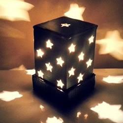 瓦楞纸做漂亮星星灯饰 改造成灯笼也很简单