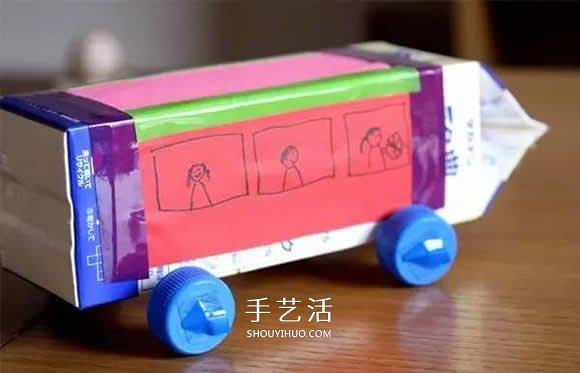 牛奶盒制作玩具车的方法 做小汽车校车都简单 -  www.shouyihuo.com