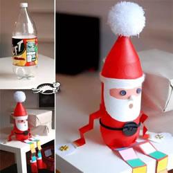 可爱长腿圣诞老人手工制作 简单饮料瓶再利用