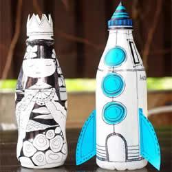 用牛奶瓶做手工 卡通火箭存钱罐的制作方法
