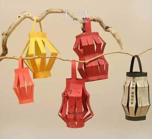 童手工做新年纸灯笼 简单红灯笼的做法图解