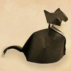 猫奴还不快来拜见!坐姿立体猫咪的折纸图解