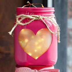 情人节爱心灯饰DIY 玻璃瓶制作浪漫爱心灯笼