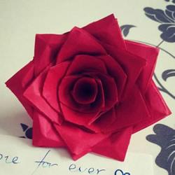 情人节红玫瑰折纸 美丽纸玫瑰花的折法图解