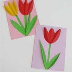 简单郁金香花贺卡做法 卡纸手工制作花朵贺卡