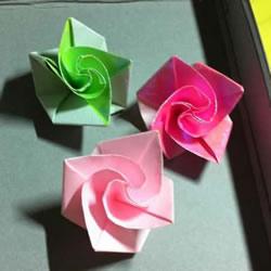 微型月季花的折纸教程 漂亮钻石玫瑰怎么折图解