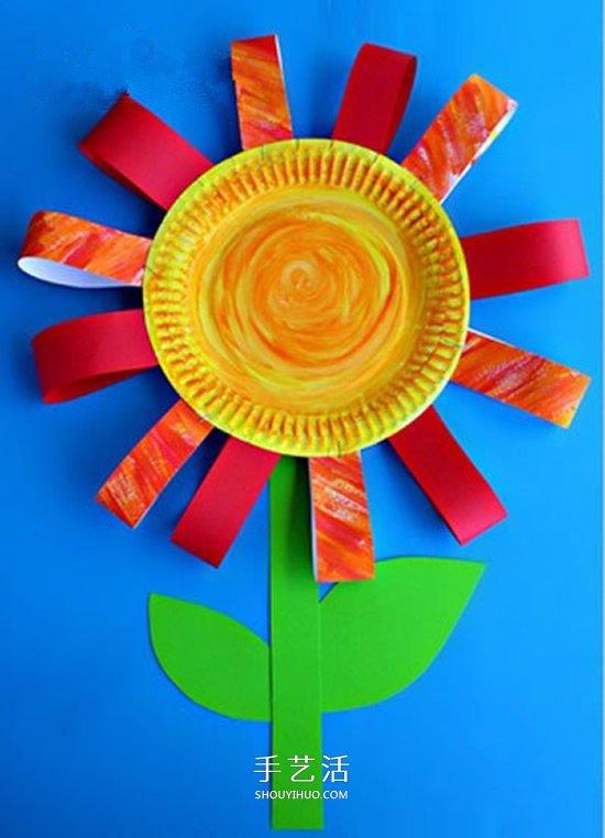 幼儿园教师节小手工 纸餐盘做小花礼物的方法 -  www.shouyihuo.com