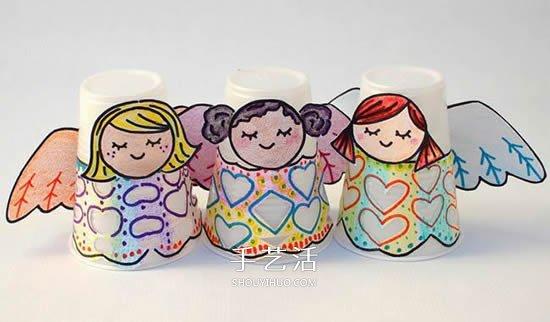纸杯天使手工制作图片 幼儿做天使宝宝的教程
