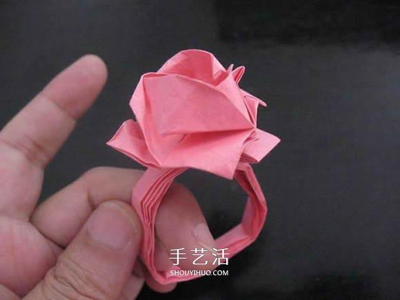 折纸蔷薇戒指的折法图解