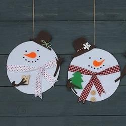 新年挂饰小制作:用不织布和光盘做雪人挂饰